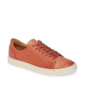 Frye Ivy low lace snake embossed leather sneaker 8